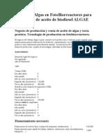 ALGAE LIQUOR_Cultivo de Algas en FotoBiorreactores (producción aceite de Biodiesel)