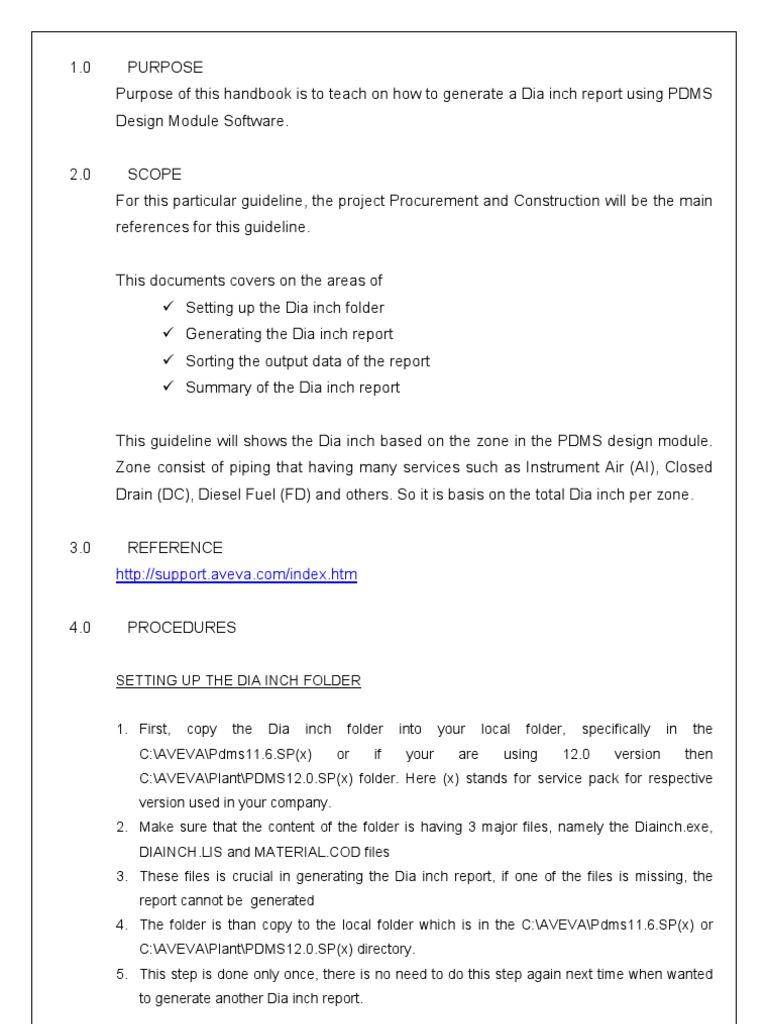 Piping-PDMS HandBook - DIAINCH Report | Directory (Computing) | Computer  File