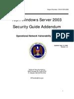 NSA Windows Server 2003 Security Guide Addendum