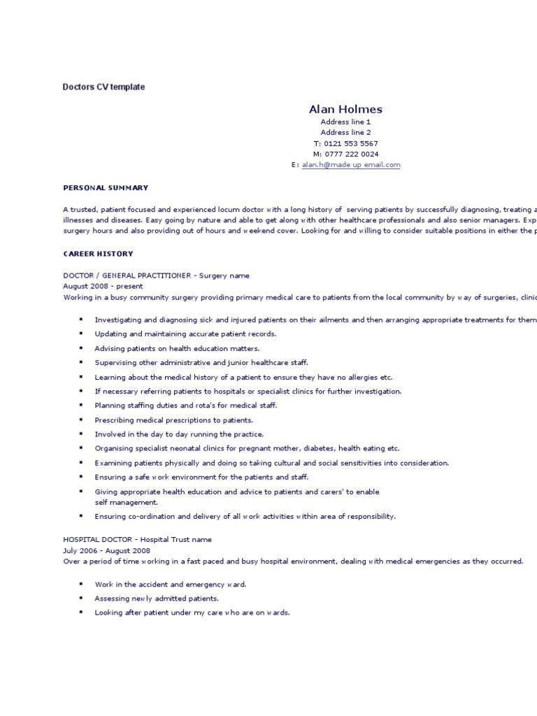 doctors cv template patient physician