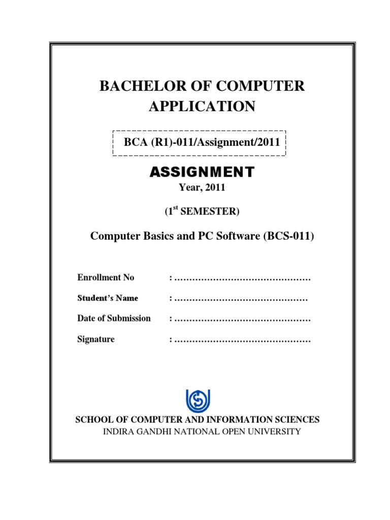 title page of ignou bca first semester assignments