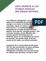 UN INVENTO PERMITE A LOS TELÉFONOS MÓVILES CONSUMIR MENOS BATERÍA