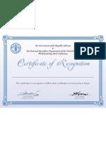 FAO Certificate 2011