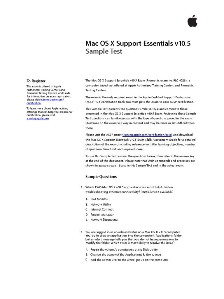 Support Essentials Sample Test V105 Test Assessment Mac Os