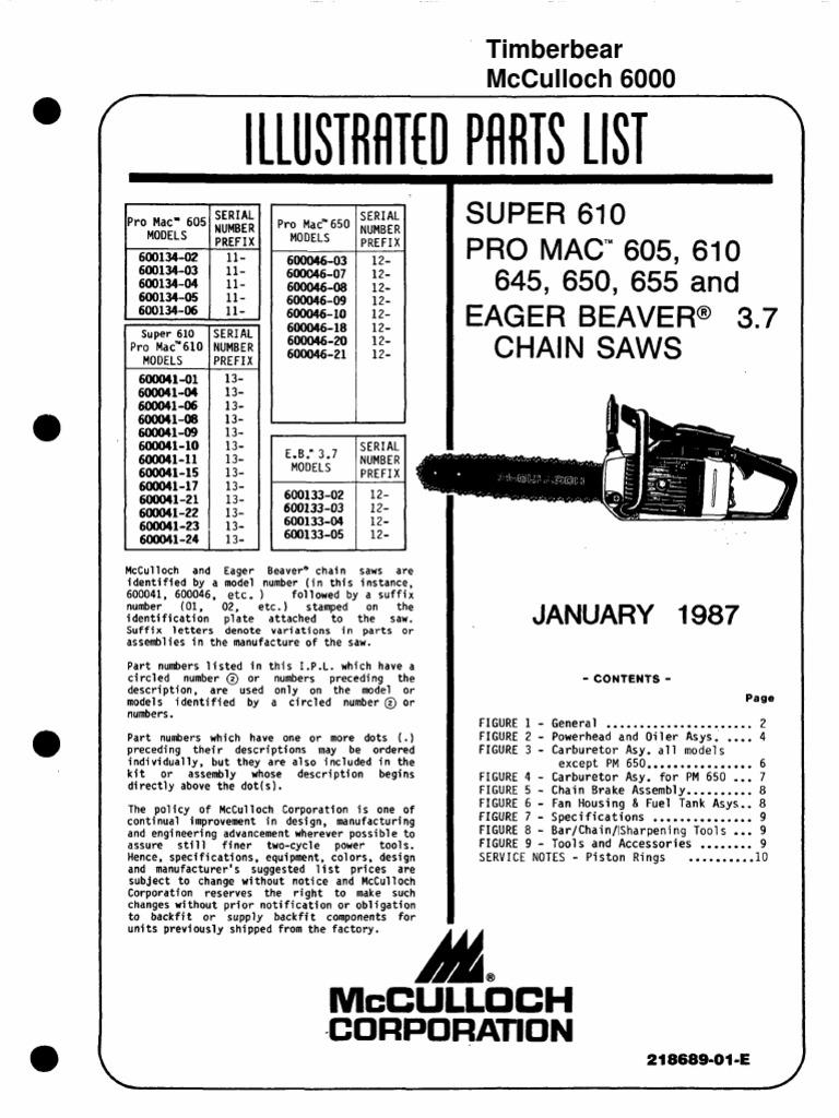 McCulloch 6000 Parts List | Throttle | Carburetor