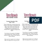 Belles Flyer-Tony Roma's
