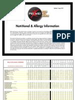 PeiWei Nutritional Allergy Menu Guide