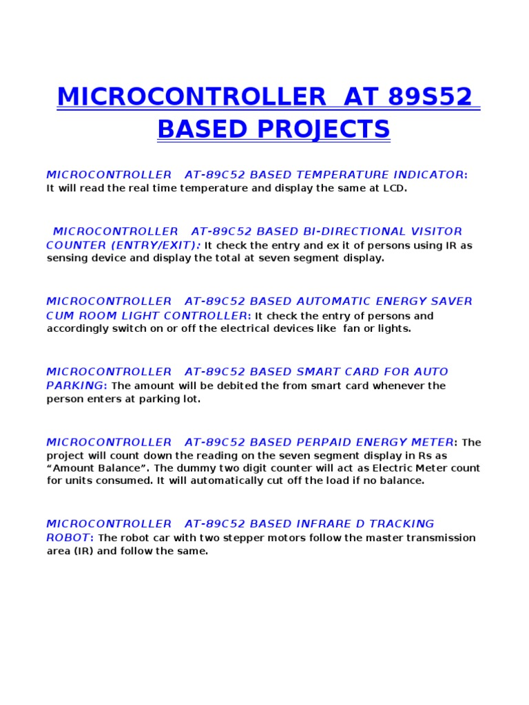 MICROCONTROLLER AT-89C52 GÇô AT 89S52 BASED PROJECTS
