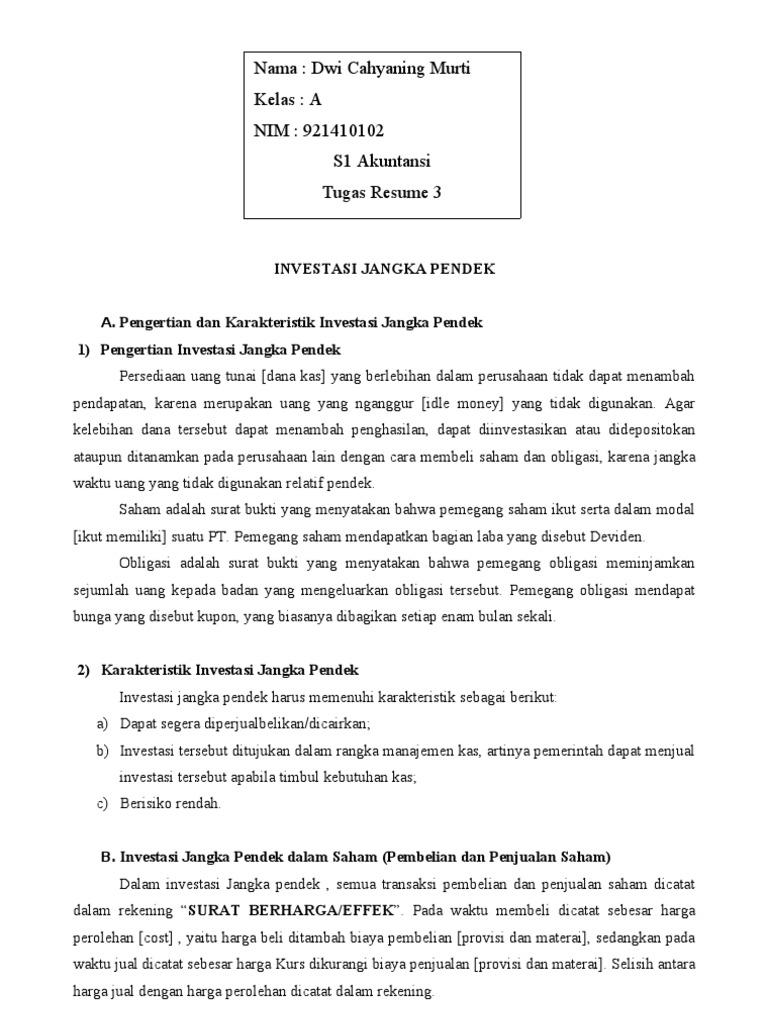 Resume 3 Investasi Jangka Pendek