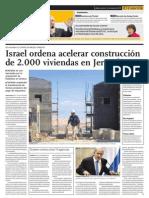 Israel ordena acelerar construcción de 2,000 viviendas en Jerusalén