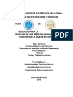 Plan de Negocios Para La Creacion de Una Empresas Organizadora de Eventos en La Ciudad de Guayaqu