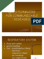 Questionnaire for Communicable Diseases