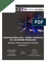 Le baromètre de l'économie française Viavoice, ACFCI, Grant Thornton et «Les Echos» de novembre 2011