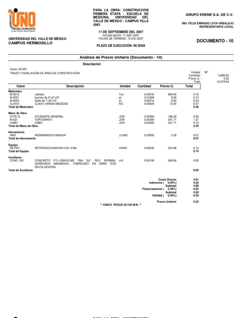 Análisis de Precio Unitario krene concurso 07