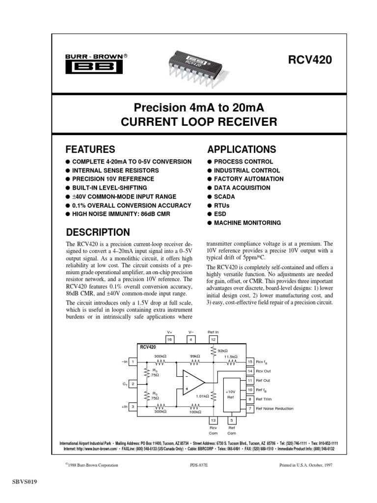 Rcv420 Amplifier Resistor Circuit Schematic Diagram Pt100 Rtd Current Loop Transmitter Using Xtr105