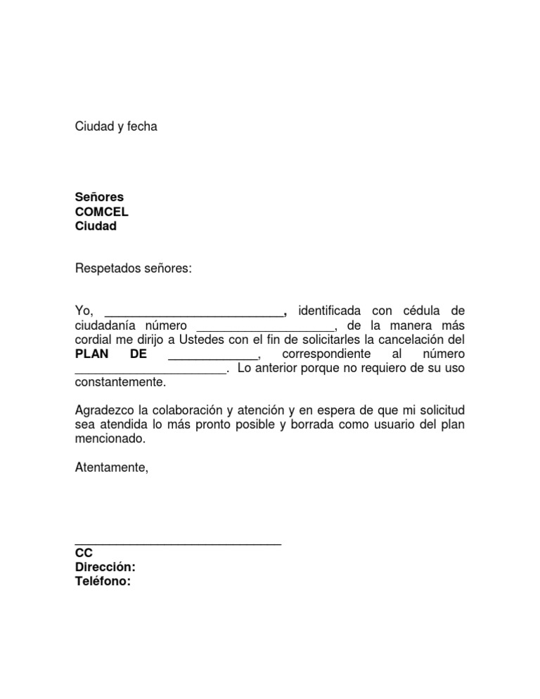 Formato carta entrega de plan comcel Bod solicitud de chequera