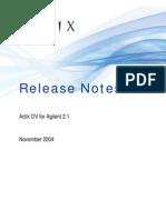 Actix DV for Agilent 2.1 Release Notes