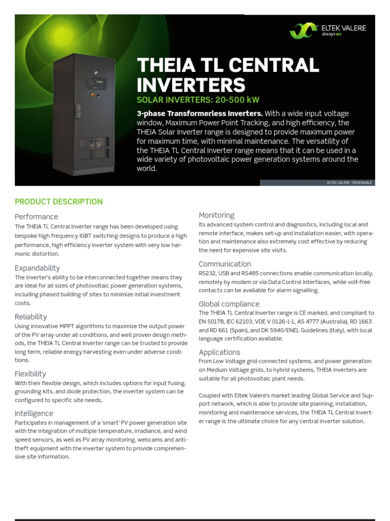 Eltek Valere Inverter Photovoltaic System Power Earthing Short Circuiting Kits Portable Customised