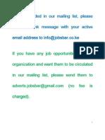 Job Opportunities Kenya October 10 - October 15