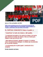 Noticias Uruguayas Jueves 3 de Noviembre de 2011