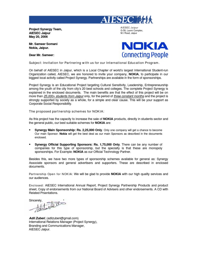 Invitation for business partnership for mr sameer from nokia altavistaventures