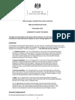 Julian Assange v Swedish Prosecution Authority Summary, 2.11.11