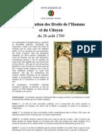 La Déclaration des Droits de l'Homme et du Citoyen 1789