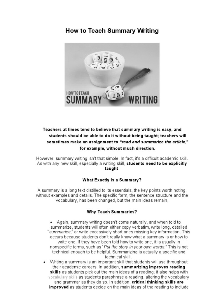 Summary writing vocabulary