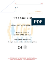 500L Brewery Proposal List From Zhongde