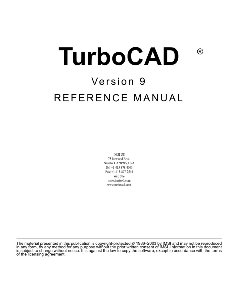 Turbo Cad Version 9 Reference License Copyright