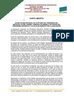 Carta Abierta de la ACORD al presidente del Deportes Tolima, Gabriel Camargo