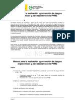 Manual Para La Evaluaciòn y Prevenciòn de Riesgos Ergonomicos y Psicosociales