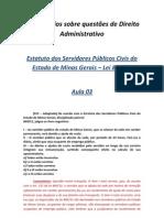 Comentários sobre questões de Direito Administrativo SEE MG - aula 03