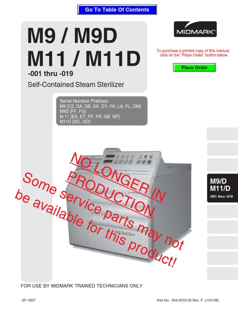 midmark m9 m11 service manual thermostat troubleshooting rh es scribd com midmark ritter m9 ultraclave service manual midmark ritter m9 service manual