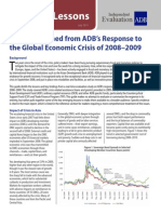 Lessons Learned from ADB's  Response to the Global Economic Crisis of 2008–2009
