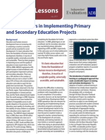 Success Factors in Implementing Primary and Secondary Education Projects