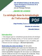 La néologie dans la terminologie de l'informatique