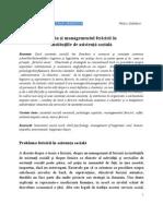 Teoria şi managementul fericirii în instituţiile de asistenţă socială