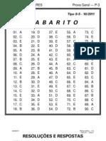 Resoluções e os gabaritos da Prova P 3  - TIPO S 5