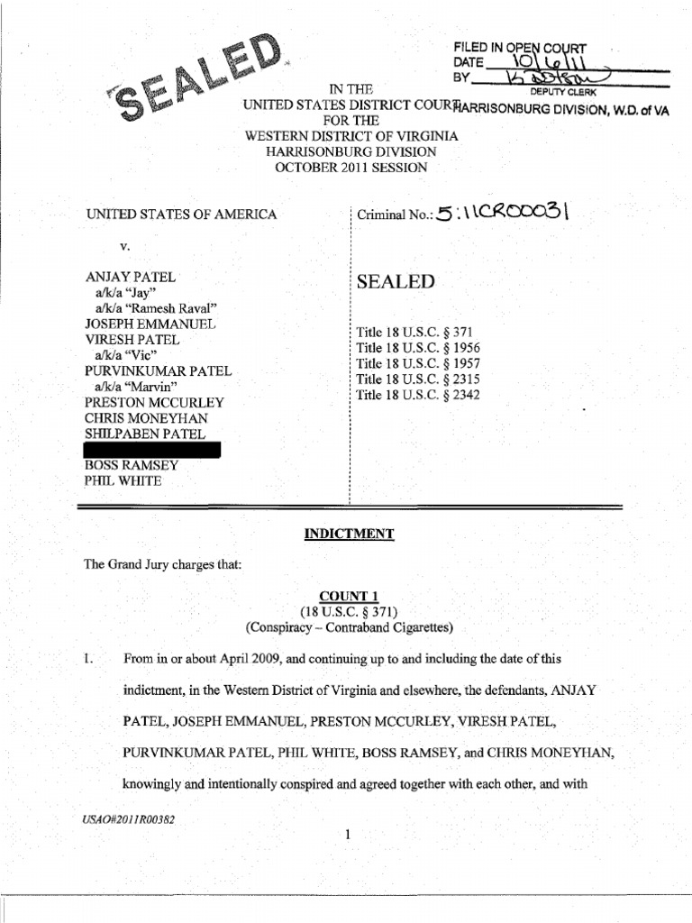 Redacted patel indictment excise smuggling falaconquin