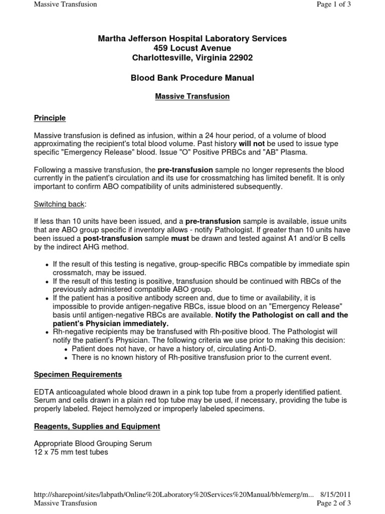 Massive Transfusion | Blood Transfusion | Blood Plasma