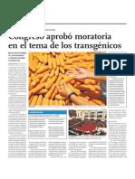 Congreso arprobó moratoria en el tema de los transgénicos