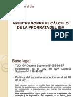 Calculo de La Prorrata Del Igv
