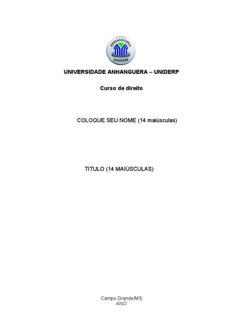 Modelo Capa Anhanguera Tcc November 2019 Serviço