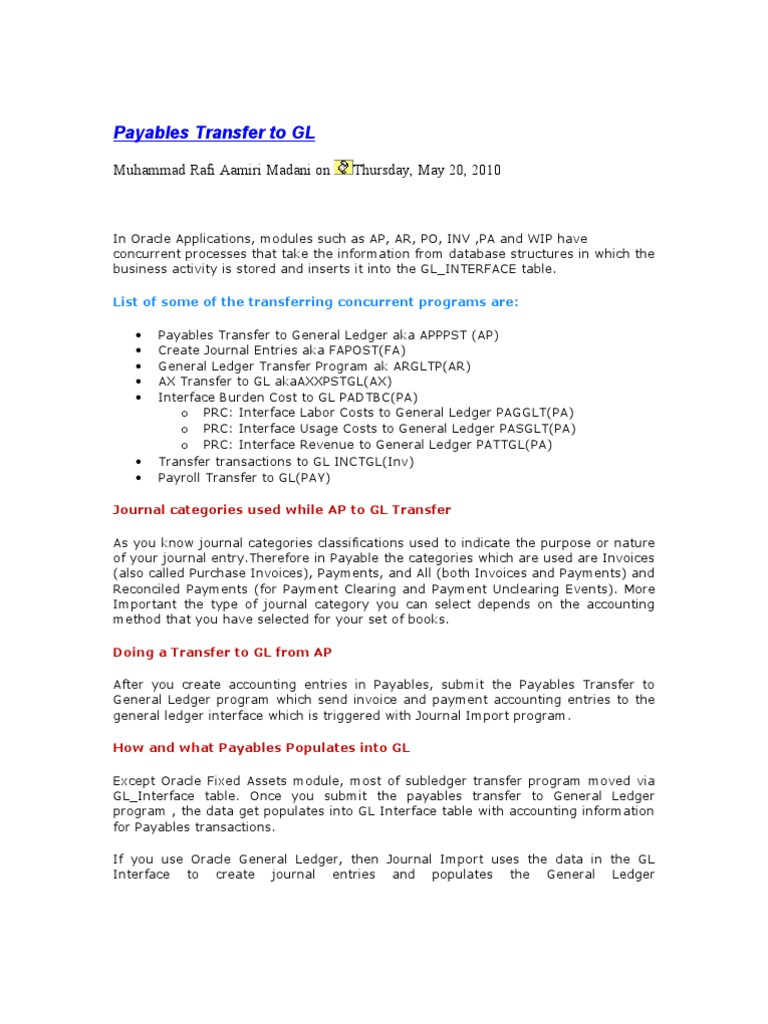 GL Queries AP | Accounts Payable | Debits And Credits