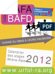 BAFA BAFD Urfol Rhone Alpes Ligue Enseignement Formations 2012