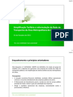 proposta de revisão das redes de transportes públicos e de simplificação do sistema tarifário da área metropolitana de Lisboa