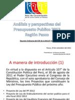 Analisis y Perspectivas Del Presupuesto Publico 2012 - Region Pasco