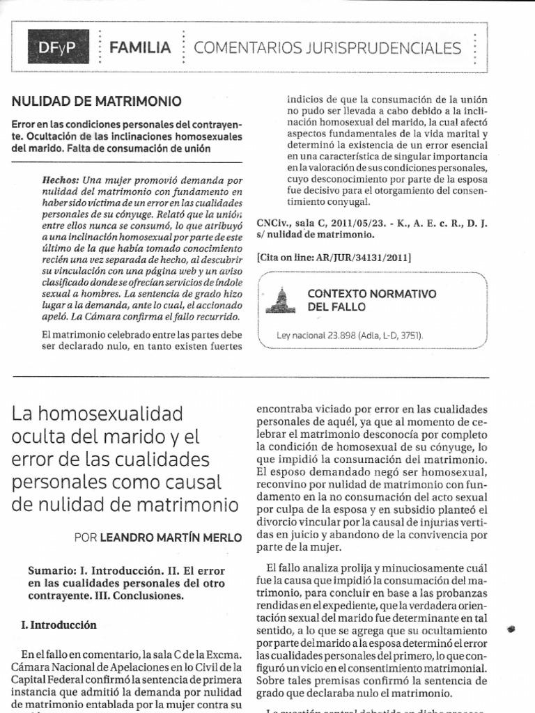 La Homosexualidad Oculta del Marido y El Error en Las Cualidades ...