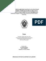 Analisis Pengaruh Kualitas Layanan Dan